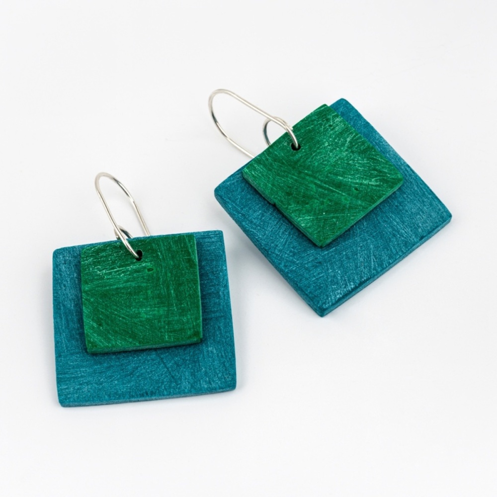 Giant Square Scratched Earrings in Teal Blue and Green
