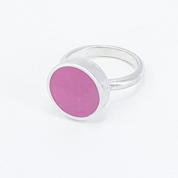 Hot Pink Colour Dot Ring  Size O
