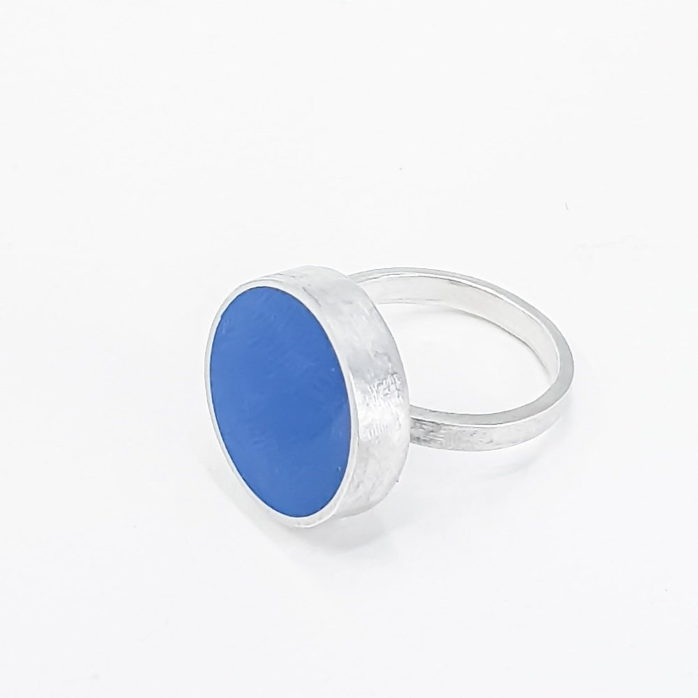 Large Cobalt Blue  Colour Dot Ring  Size Q