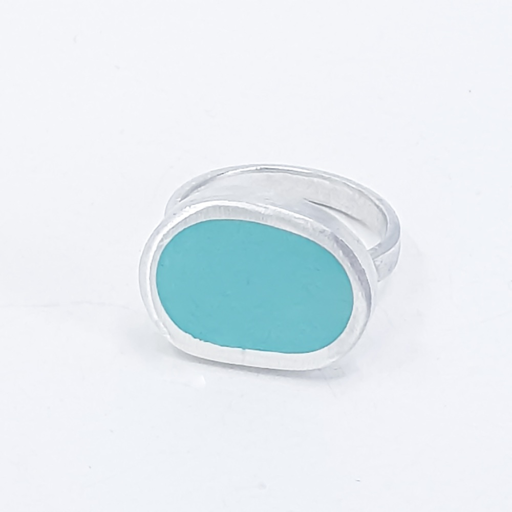 Large Mishape Sea Green Colour Dot Ring Size O