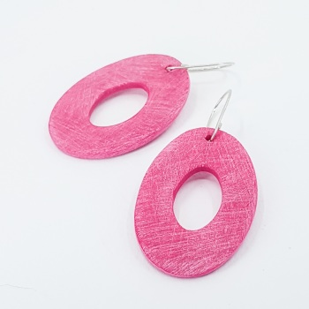 Giant Scratched Oval Earrings Cerise Pink