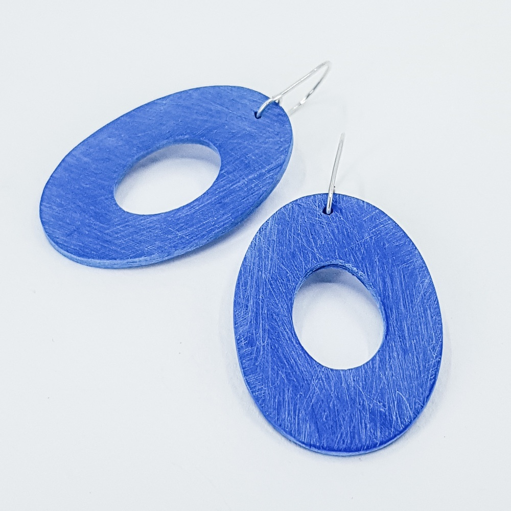 Giant Scratched Oval Earrings Cobalt Blue