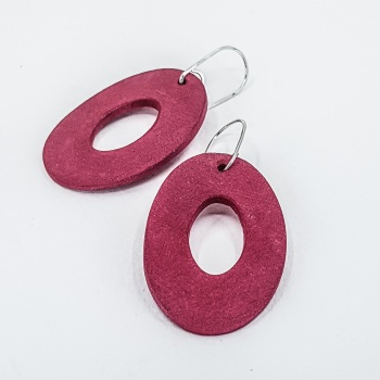 Giant Scratched Oval Earrings Crimson Red