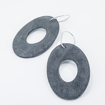 Giant Scratched Oval Earrings Dark Charcoal