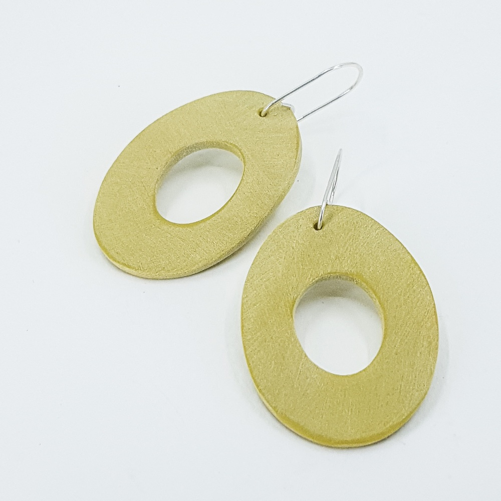 Giant Scratched Oval Earrings Golden Olive