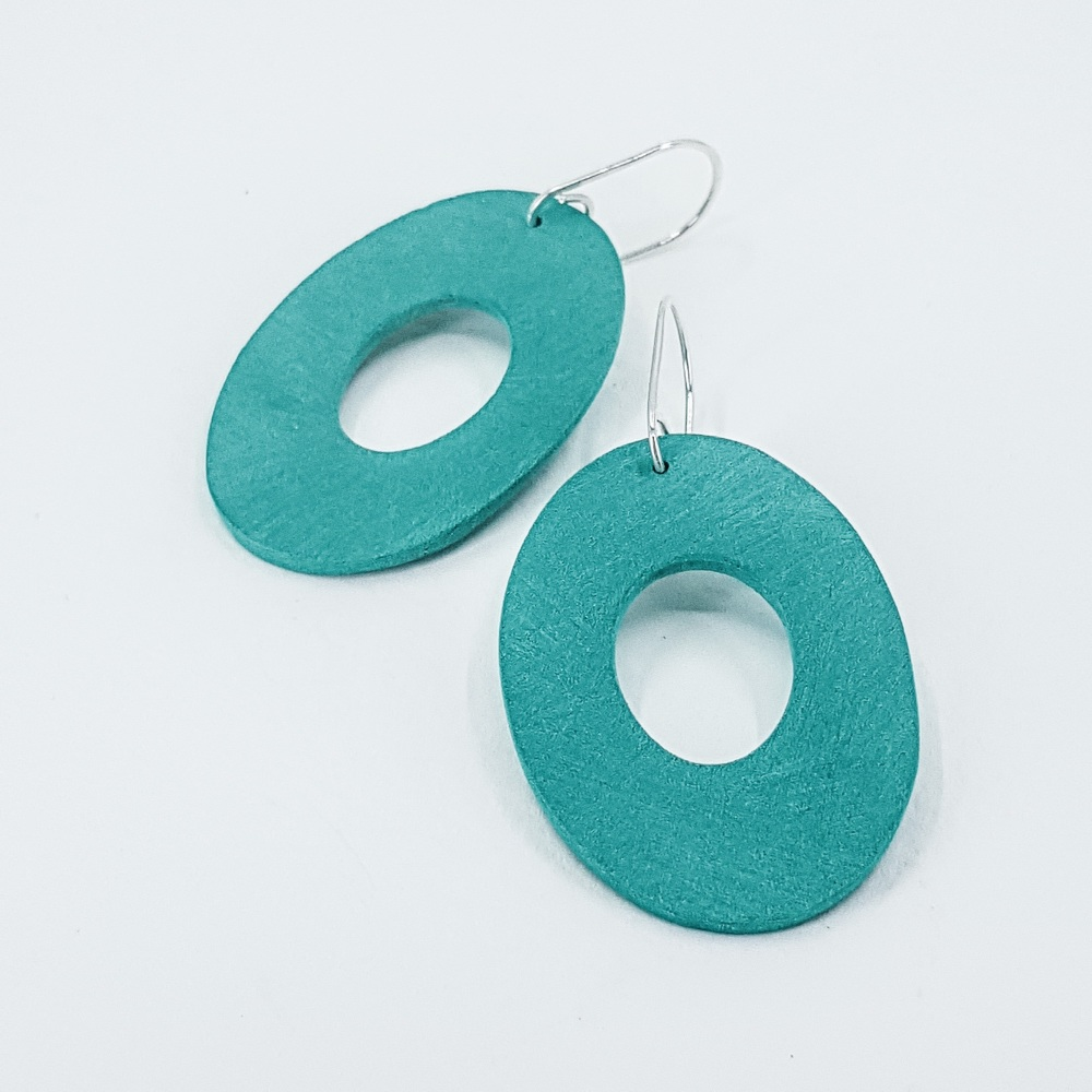 Giant Scratched Oval Earrings Jade Green