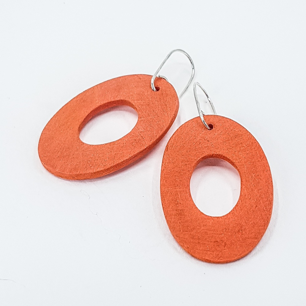 Giant Scratched Oval Earrings Orange