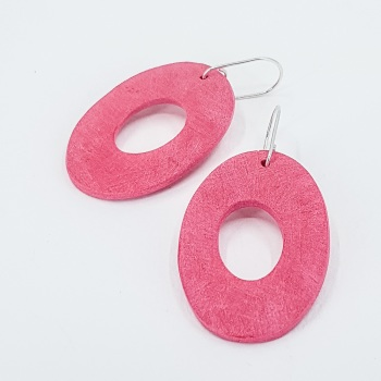 Giant Scratched Oval Earrings Pale Red