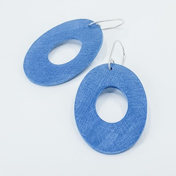 Giant Scratched Oval Earrings Teal Blue