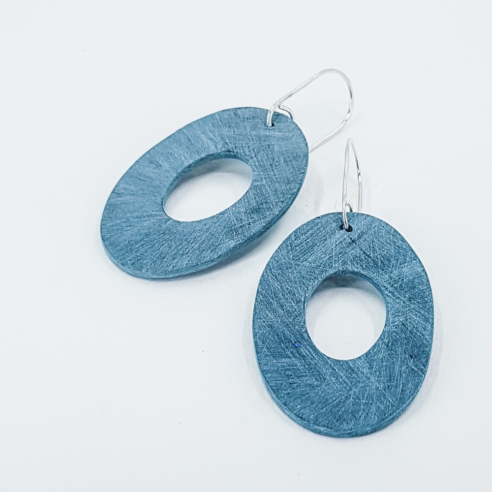 Giant Scratched Oval Earrings Teal Green
