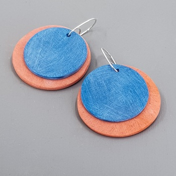 Giant Circles Scratched Earrings in Orange and Teal Blue