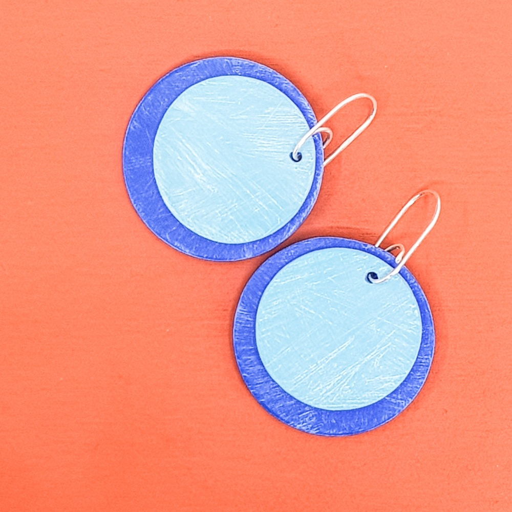 Giant Circles Scratched Earrings in Cobalt and Sky Blue