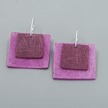 Giant Square Scratched Earrings in Berry Red and Pink