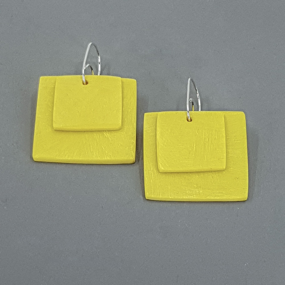 Giant Square Scratched Earrings in Bright Yellow