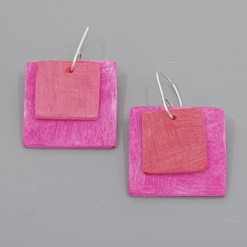 Giant Square Scratched Earrings in Cerise Pink and Red