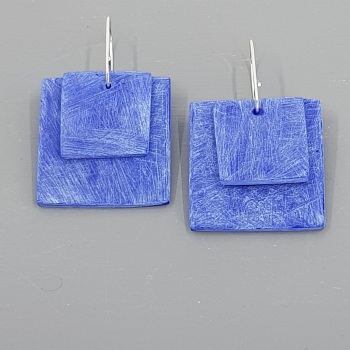 Giant Square Scratched Earrings in Cobalt Blue