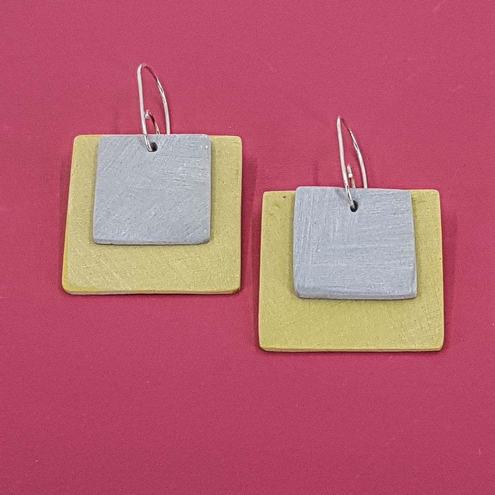 Giant Square Scratched Earrings in Mustard and Grey
