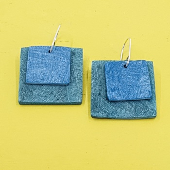 Giant Square Scratched Earrings in Teal Green and Blue