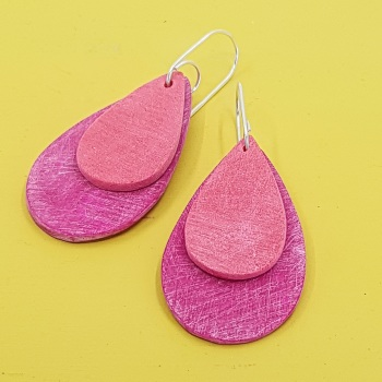 Giant Teardrop Scratched Earrings in Cerise Pink and Soft Red