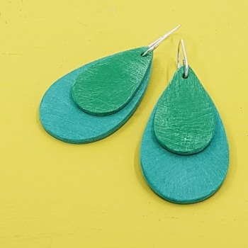 Giant Teardrop Scratched Earrings in Jade and Emerald Green