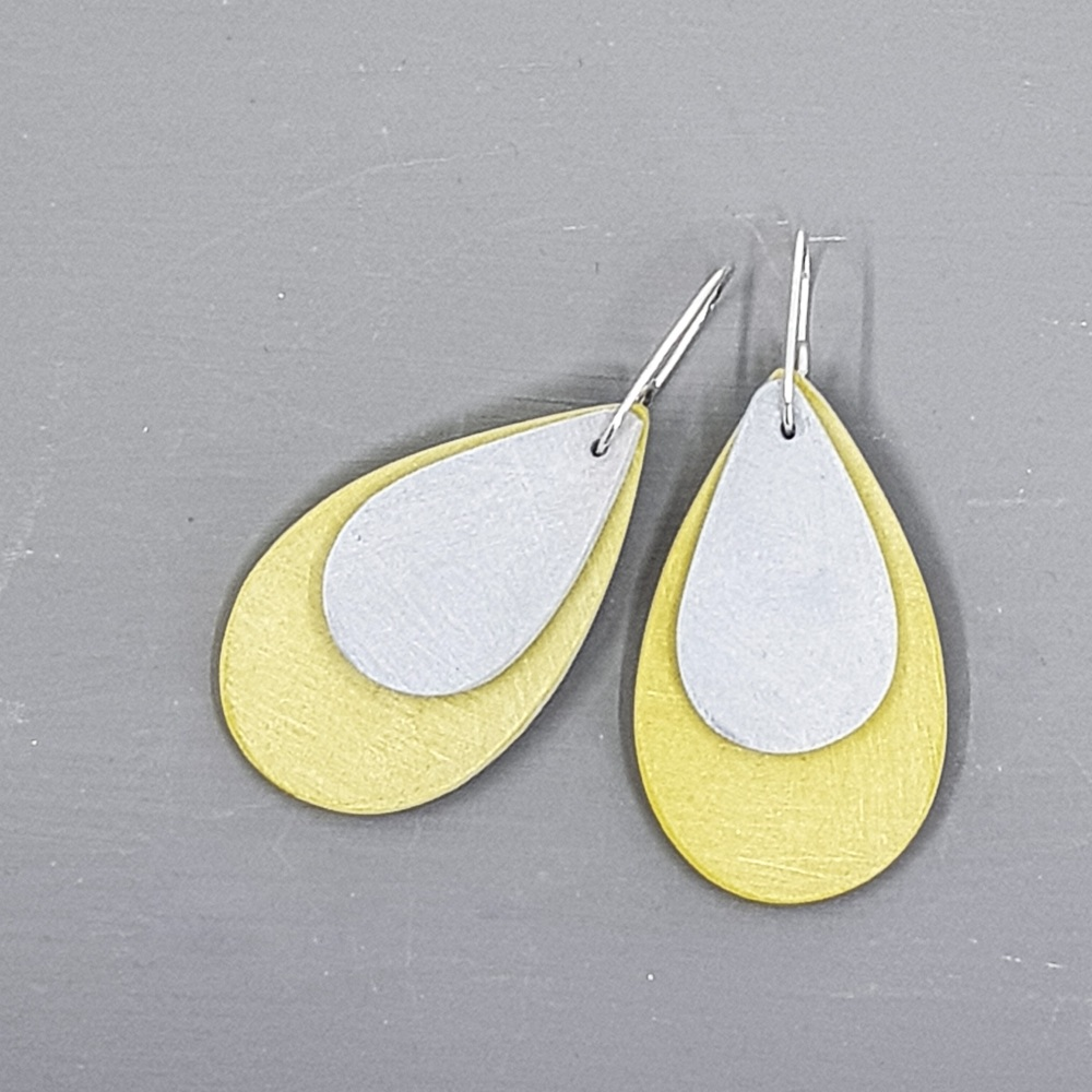 Giant Teardrop Scratched Earrings in Mustard and Grey
