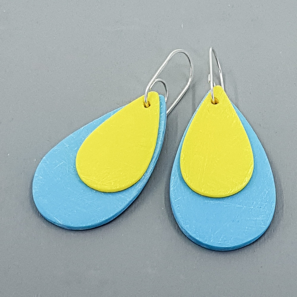 Giant Teardrop Scratched Earrings in Blue and Yellow