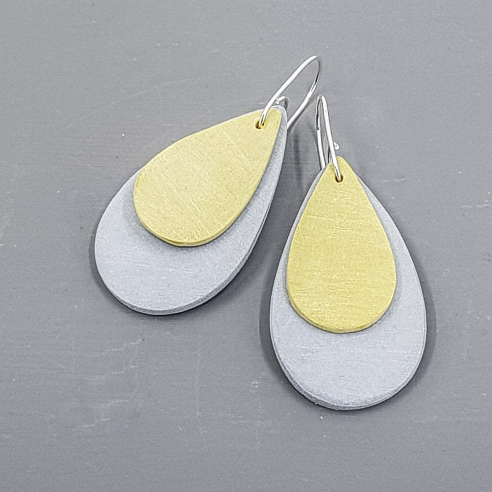 Giant Teardrop Scratched Earrings in Grey and Mustard