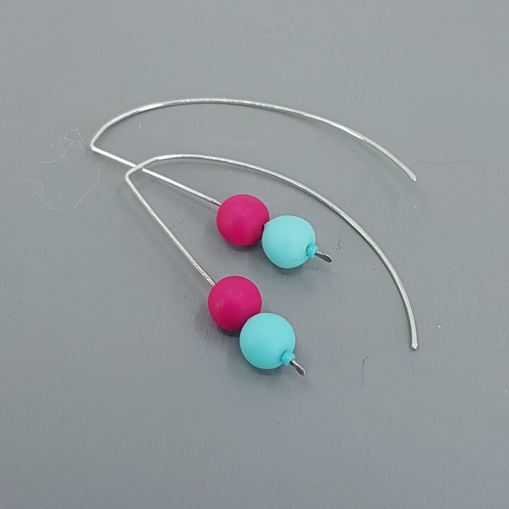 Duo Bead Sterling Silver Wire Earrings in Aqua and Cerise