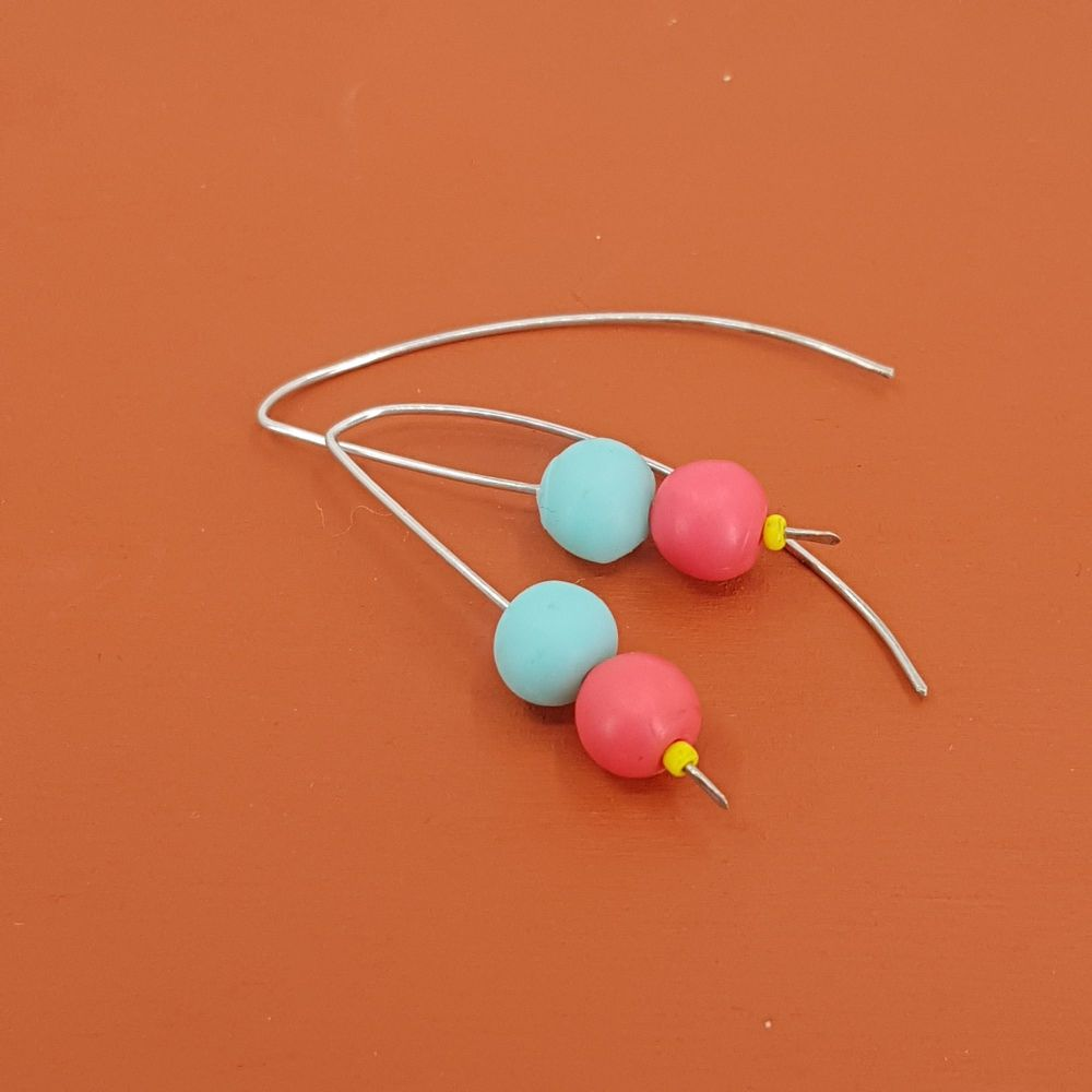 Duo Bead Sterling Silver Wire Earrings in Aqua Blue and Coral