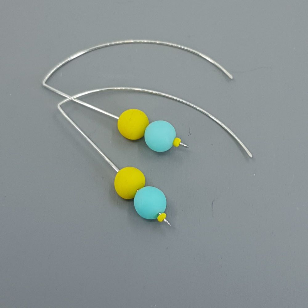 Duo Bead Sterling Silver Wire Earrings in Aqua Blue and Yellow