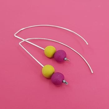 Duo Bead Sterling Silver Wire Earrings in Berry Red and Mustard