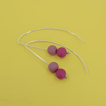 Duo Bead Sterling Silver Wire Earrings in Berry Red and Pink