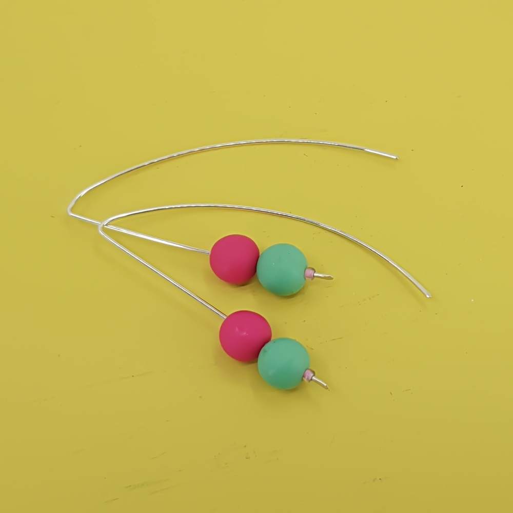Duo Bead Sterling Silver Wire Earrings in Cerise Pink and Jade