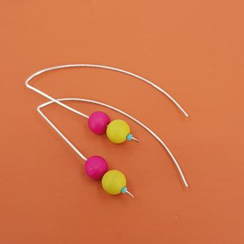 Duo Bead Sterling Silver Wire Earrings in Cerise Pink and Mustard