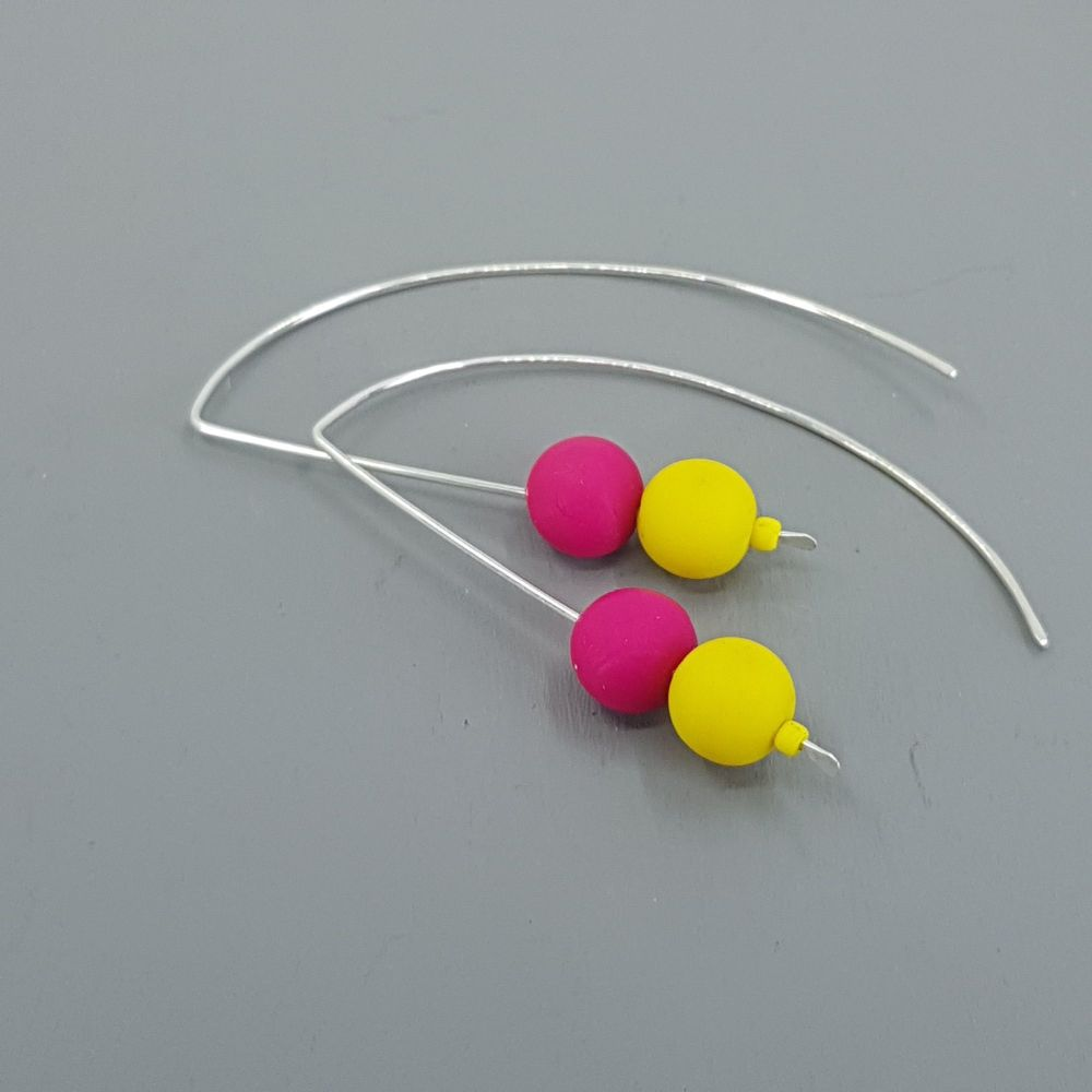 Duo Bead Sterling Silver Wire Earrings in Cerise Pink and Yellow