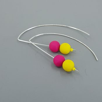 Duo Bead Sterling Silver Wire Earrings in Yellow and Cerise Pink