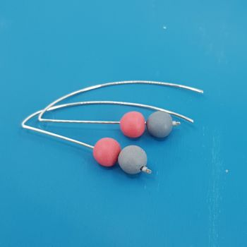 Duo Bead Sterling Silver Wire Earrings in Coral and Grey