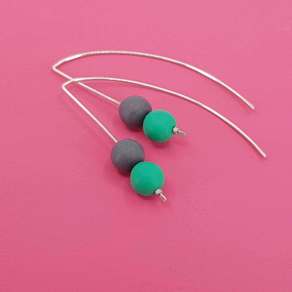 Duo Bead Sterling Silver Wire Earrings in Green and Dark Blue