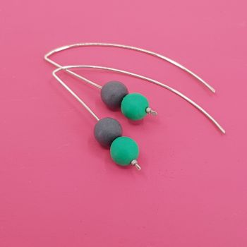 Duo Bead Sterling Silver Wire Earrings in Green and Dark Grey