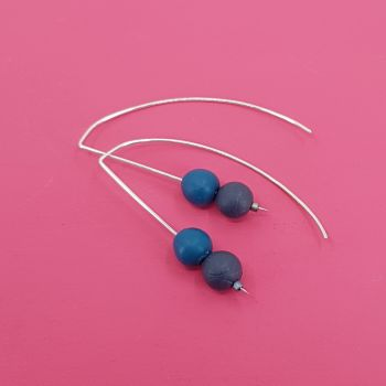 Duo Bead Sterling Silver Wire Earrings in Teal and Dark Blue