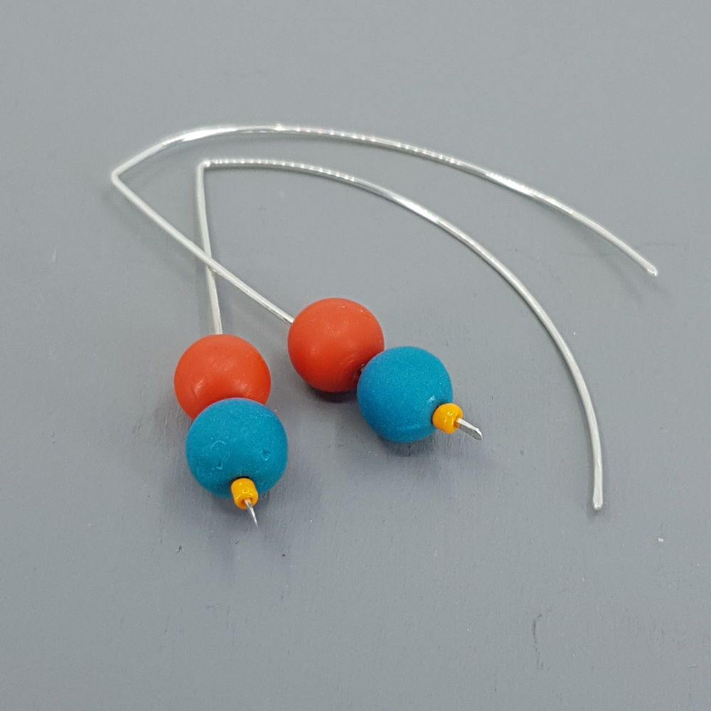 Duo Bead Sterling Silver Wire Earrings in Teal and Orange
