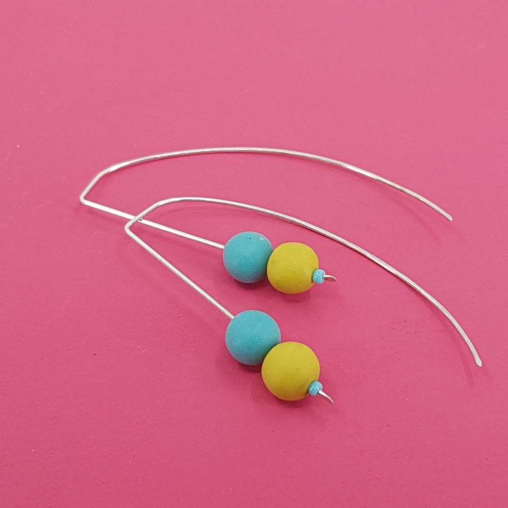 Duo Bead Sterling Silver Wire Earrings in Turquoise and Mustard