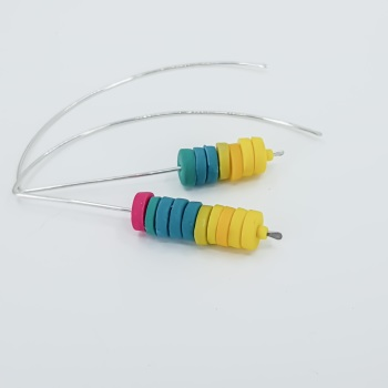 Tiny Disc Asymmetrical Sterling Silver Wire Earrings Yellow, Teal and Cerise Pink