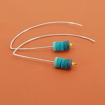 Tiny Disc Sterling Silver Earrings in Blues and Teals
