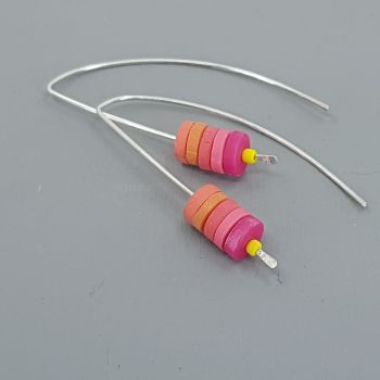 Tiny Disc Sterling Silver Wire Earrings Hot Pink, Red and Orange
