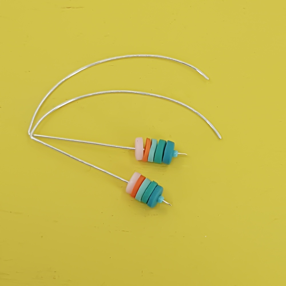 Tiny Disc Sterling Silver Wire Earrings Pastel Pink, Blue and Orange