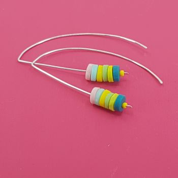 Tiny Disc Sterling Silver Wire Earrings Spring Colours