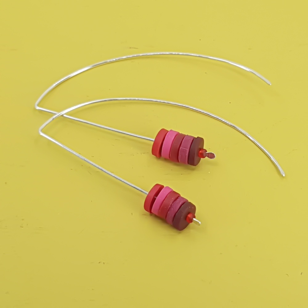 Tiny Disc Sterling Silver Wire Earrings in Berry Red