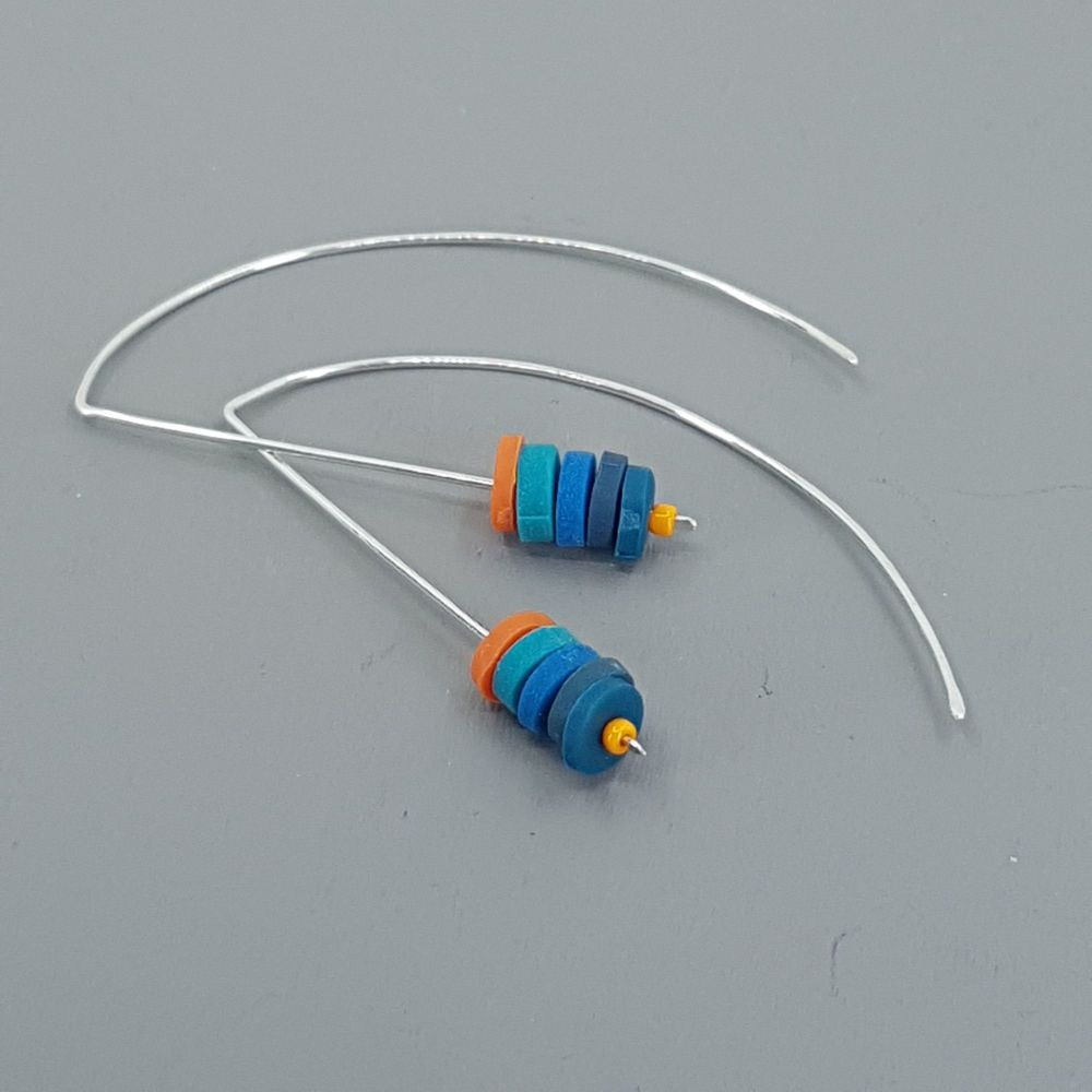 Tiny Disc Sterling Silver Wire Earrings Teal, Blue and Orange