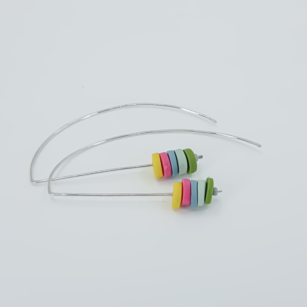 Tiny Disc Sterling Silver Wire Earrings Yellow, Pink, Blue and Green